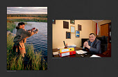 (left) Sasha Serotetto, a Nenets reindeer herder, photographed in 1993 as he checked his fishing net. (Right) Sasha, photographed in 2017, at his desk as the director of the Yarsalinsky State Farm  in Yar-Sale. Yamal, Northwest Siberia, Russia