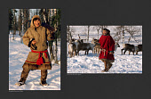 (left) Alexandre Serotetto, a Nenets reindeer herder, photographed in 1996 at his winter camp. (Right) Alexandre photographed in 2019 amongst his family's reindeer. Yamal, Northwest Siberia, Russia