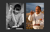 (left) Magssanguak Imina, an Inuit boy doing a traditional string puzzle called the tent in 1971. (Right) Magssanguak doing the same string puzzle 48 years later in 2019. Qaanaaq, Northwest Greenland.