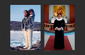 (Left) Eqilana Simigaq, a young Inuit woman,wearing traditional clothing of the Thule region, carrying her young son, Peter, photographed in 1980. (Right) Eqilana photographed in 2019 inside the Lutheran church in Qaanaaq where she is the Priest. Northwest Greenland.
