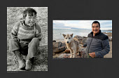(Left) Thomas Qujaukitsoq, an Inuit boy, photographed in 1971 at a hunting camp near Qaanaaq. (Right) Thomas photographed in 2019 with 'Pluto' one of his dog team that he uses for hunting in the winter months. Qaanaaq, Northwest Greenland
