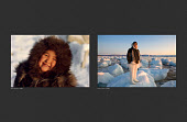 (Left) Sofie Jensen, a young Inuit girl from Qaanaaq, wearing a fox fur hood photographed in 1987. (Right) Sofie photographed on the beach at Qaanaaq in 2008. She is wearing the traditional woman's clothing of the Thule region of Northwest Greenland.