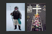 (Left) Ituko, an Inuit hunter from Moriussaq, photographed while out walrus hunting in the polar night in 1980. (Right) Ituko's grave in Moriussaq. Photographed after his death in an accident while travelling by dog sled on thin sea ice in 1990. Northwest Greenland.