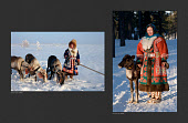 (left) Sveta Pyak, a Khanty woman, photographed out on the tundra with three of her draught reindeer in 2000. (right) Sveta Pyak, photographed with 'Ava' a pet reindeer, photographed near Numto in 2020. Khanty Mansiysk, Northwest Siberia, Russia