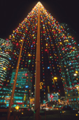 Christmas lights at Portage Avenue & Main Street in Winnipeg. Manitoba Canada.