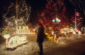 An elaborate display of Christmas lights outside a home in Winnipeg. Manitoba, Canada