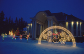 Christmas lights decorating a large suburban home in Winnipeg. Manitoba, Canada