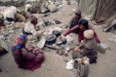 Herder's family eat goat meat & Yak butter. Nimaling Plateau. Ladakh. India.